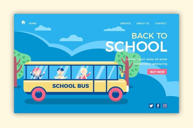 Autobús escolar de regreso a la página de inicio de la escuela