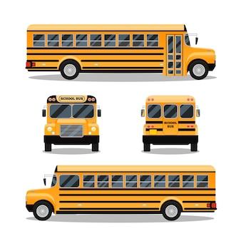 Autobús escolar. transporte y transporte de vehículos, automóvil de viaje,