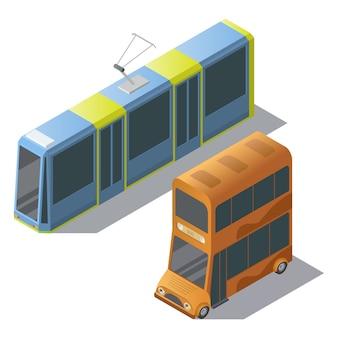 Autobús isométrico de dos pisos y tranvía