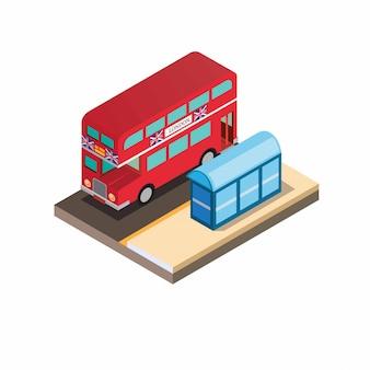 Autobús rojo británico de dos pisos con isométrico halte