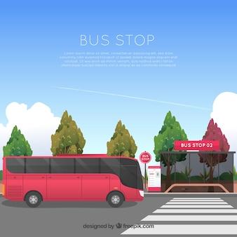 Autobús urbano y parada de autobús con diseño plano