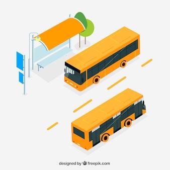 Autobús urbano y parada de autobús en vista isométrica