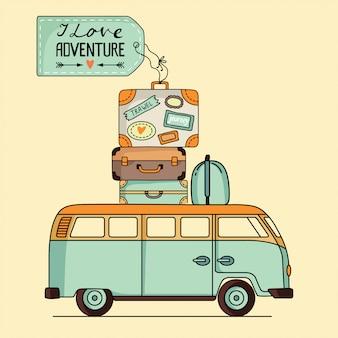 Autobús vintage con ilustración de equipaje