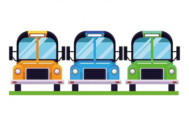 Autobuses escolares vehículos estacionados vista frontal aislado