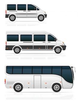 Autobuses grandes y pequeños para transporte de pasajeros ilustración vectorial