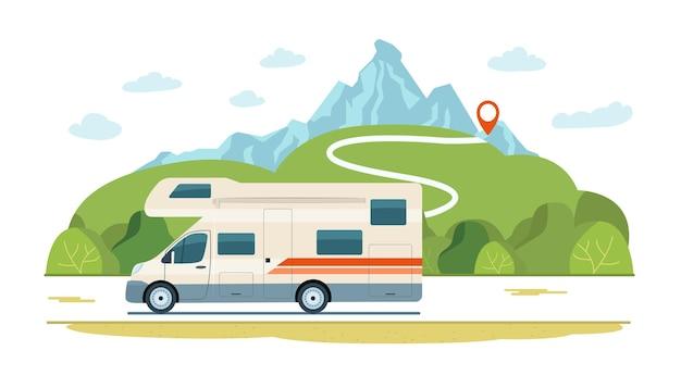 Autocaravana en la carretera de un paisaje rural. ilustración de estilo plano.