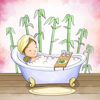 Autocuidado mujer tomando un baño