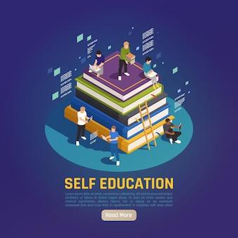 Autoeducación para el desarrollo personal, personas isométricas que leen estudiando en una pila de libros grandes