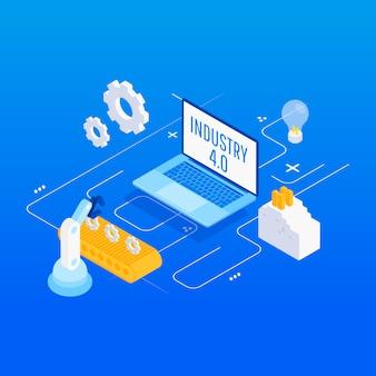 Automatización de fábricas isométricas, industria 4.0
