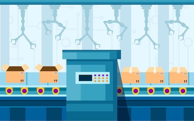 Automatización industrial. tecnología de brazo robótico en línea de montaje. brazos automatizados. cinta transportadora robótica para el envasado de productos en cajas de cartón. ilustración