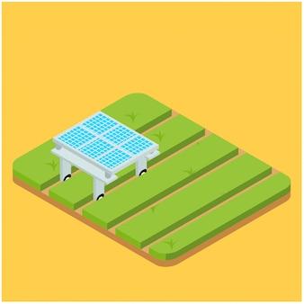 Automatización inteligente isométrica agricultura en el campo, ilustración vectorial