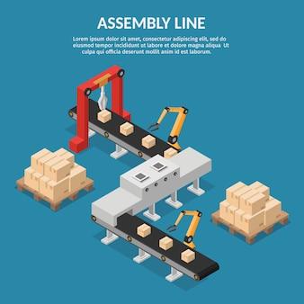 Automatización isométrica abstracta línea de ensamblaje robótica.