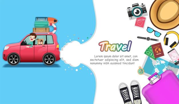 El automóvil y los accesorios viajan por todo el mundo.