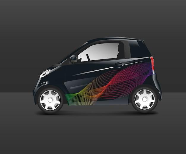 Automóvil compacto híbrido con diseño especial vector.