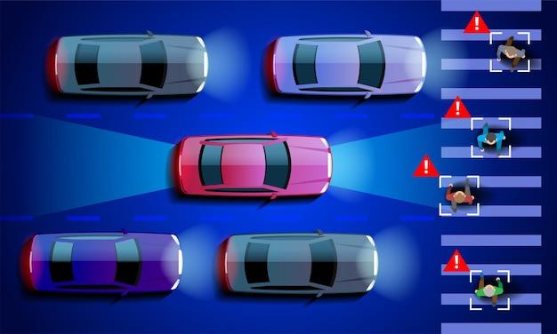 Automóvil inteligente autónomo escanea la carretera opera la máquina se detiene automáticamente en el paso de peatones de la ciudad. .