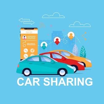 Automóvil transporte alquiler app.