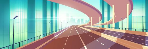 Autopista vacía de la ciudad moderna, vector de dibujos animados de cruce