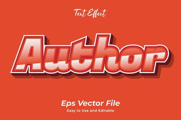 Autor de efectos de texto editable y fácil de usar vector premium