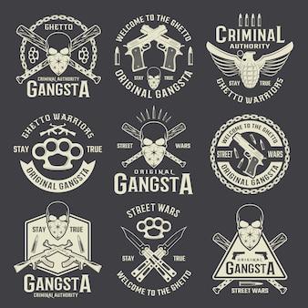 Autoridad criminal emblemas monocromáticos