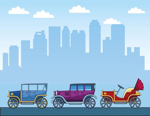 Autos clásicos sobre ciudad urbana