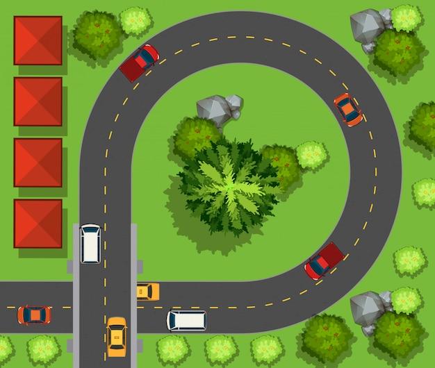 Autos conduciendo alrededor del circulo