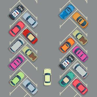 Autos estacionados en la vista superior del estacionamiento, transporte urbano
