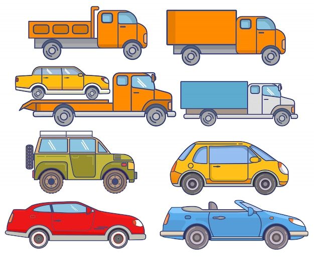 Autos minivan, taxi, grúa, suv, coupé, descapotable,
