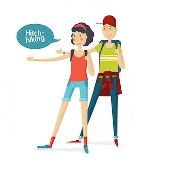 Autostop turismo dos personas. niña y niño haciendo autostop en un estilo de dibujos animados plana. el hombre y la mujer con una mochila grande detuvieron un paseo moviendo el pulgar. niña y niño. jóvenes turistas niña y niño.