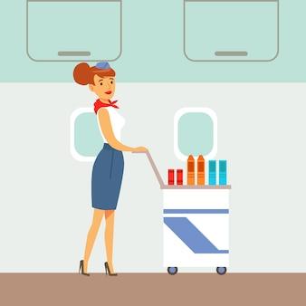 Auxiliar de vuelo sirviendo bebidas en un avión