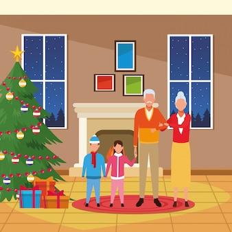 Avatar abuelos y nietos alrededor del árbol de navidad
