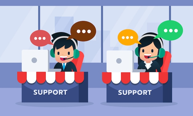 Avatar de centro de llamadas masculinas y femeninas que lleva el receptor de cabeza que trabaja por la computadora portátil, ayuda al cliente