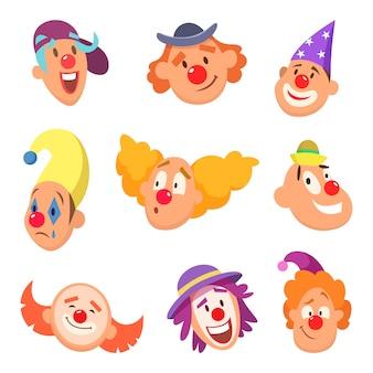 Avatar conjunto de divertidos payasos con diferentes emociones.