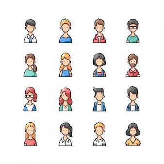 Avatar conjunto de iconos de colores de contorno