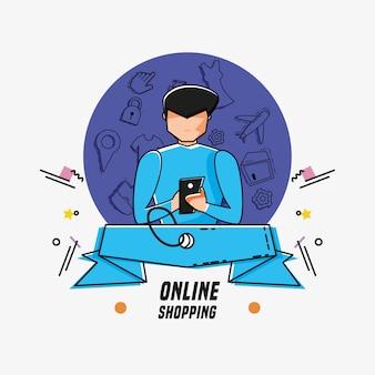 Avatar de hombre con iconos de compras en línea estilo pop art