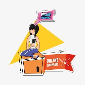 Avatar de mujer con estilo de arte pop icono de compras en línea