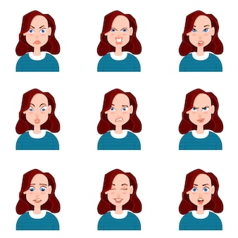 Avatar femenino con estilo de dibujos animados de emociones.