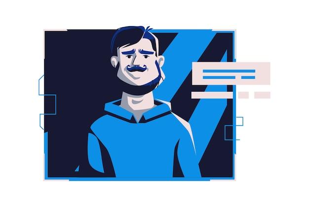 Avatar de gente moderna en ropa casual, ilustración de dibujos animados de vector. hombre con rostro y cabello individuales, en marco digital claro en computadora azul oscuro, imagen para perfil web