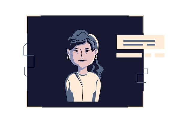Avatar de gente moderna en ropa casual, ilustración de dibujos animados de vector. mujer con rostro y cabello individuales, en marco digital claro en computadora azul oscuro, imagen para perfil web