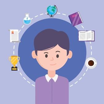 Avatar hombre y aprendiendo en línea