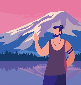 Avatar hombre delante del paisaje