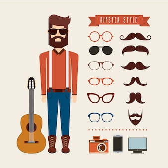 Avatar hombre hipster estilo icono aislado