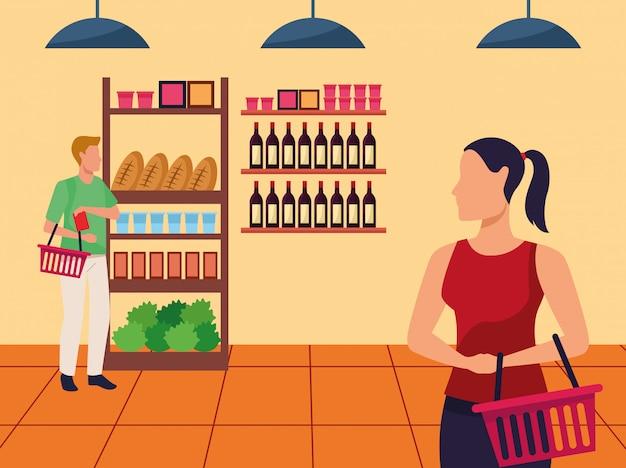 Avatar hombre y mujer en el pasillo del supermercado