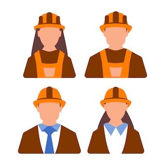 Avatar ingeniero trabajador femenino y masculino. mujer y hombre trabajador. estilo de dibujos animados ilustración vectorial