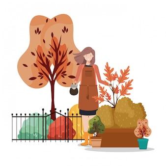 Avatar mujer y concepto de jardinería