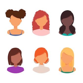 Avatar de mujer con diferentes peinados y colección de cortes de pelo.