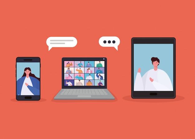 Avatar de mujer y hombre con burbujas en teléfonos inteligentes en el diseño de video chat