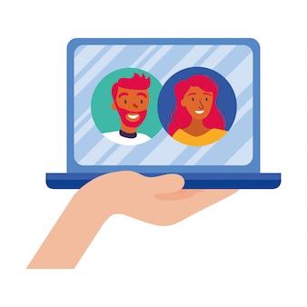 Avatar de mujer y hombre en la computadora portátil en diseño de vector de video chat