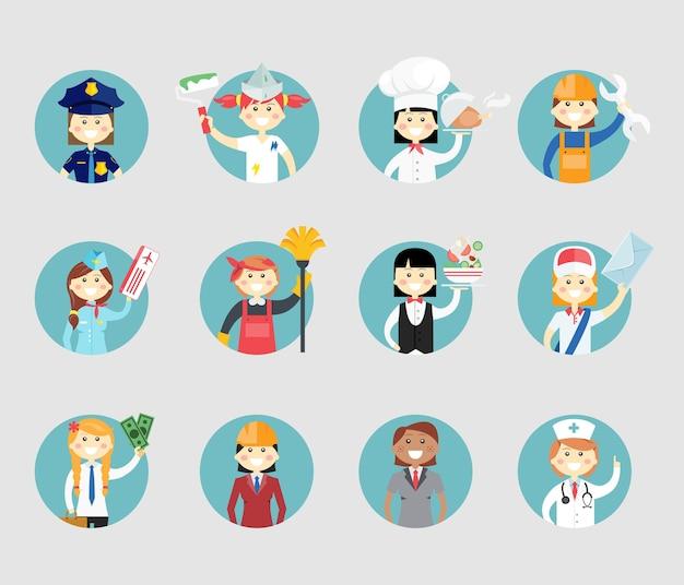 Avatar de mujeres profesionales en botones web redondos, un sargento de policía, pintor, chef, mecánico, azafata, limpiador, camarera, trabajador postal, empresaria, arquitecto y médico
