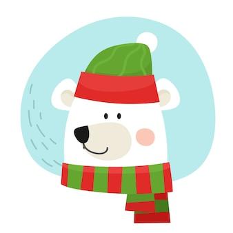 Avatar de un oso polar con gorro y bufanda. ilustración en estilo plano de dibujos animados.