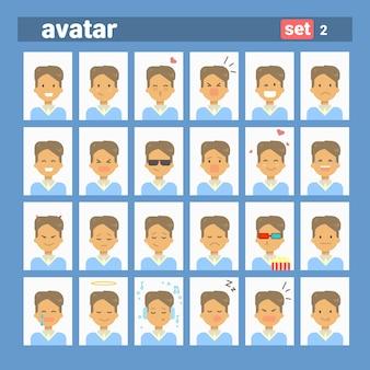 Avatar de perfil de conjunto de emoción diferente masculina, colección de cara de retrato de dibujos animados hombre